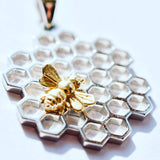 Bee Sweet Silver Honeycomb and Gold Bee Necklace