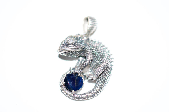 Cosmic Chameleon Silver Pendant with Faceted Blue Gemstone