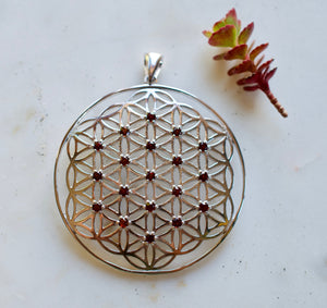 I Am Passion Ruby X-Large Sterling Silver Flower of Life Pendant spiritual jewelry sacred geometry