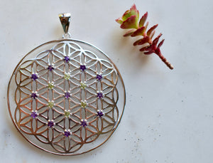 I Am Stardust Amethyst & Peridot X-Large Flower of Life Sterling Silver Pendant spiritual jewelry sacred geometry