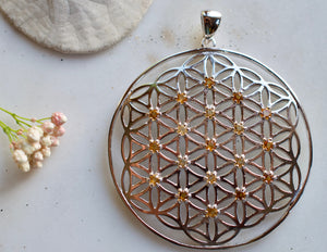 I Am Joy Joyful Citrine X-Large Sterling Silver Flower of Life Pendant spiritual jewelry