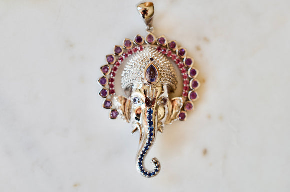 Ganesha Necklace with 108 Amethysts, Rhodolite Garnets, and Blue Sapphires in Sterling Silver