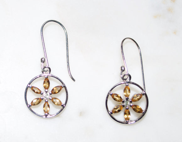 citrine evangeline flower of life earrings