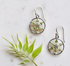 Cherise Peridot Flower of Life Sterling Silver Earrings