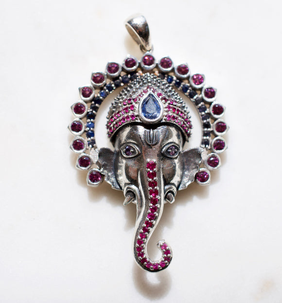 Jai Ganesha Sterling Silver Pendant with Rubies and Blue Sapphires