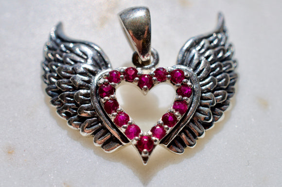 Heavenly Ruby Sterling Silver Winged Heart
