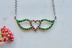 Purple Sapphire and Chrome Diopside Signature Winged Heart Necklace