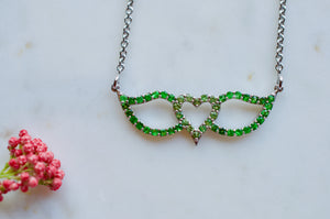 Tsavorite and Chrome Diopside Signature Winged Heart Necklace