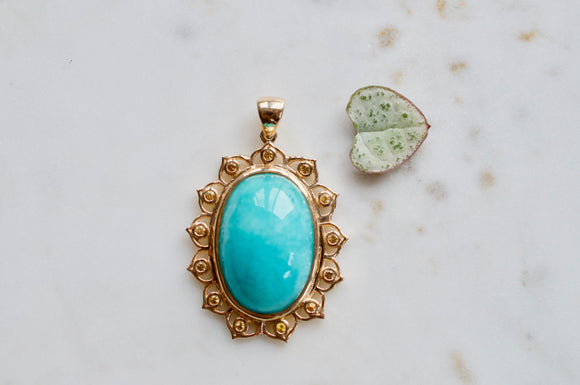 The Sky Was Yellow 10K Gold Amazonite Pendant Necklace Set in Yellow Sapphire Lotus