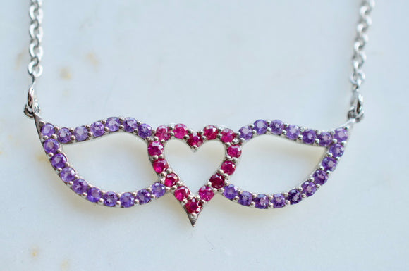 Signature Heart and Wings Necklace Featuring Ruby and Amethyst