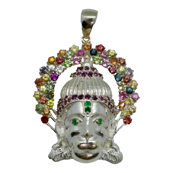 Hanuman Sapphire Pendant Necklace with Green Eyes & 3rd Eye
