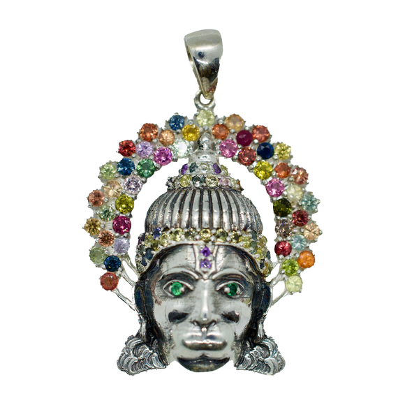 Hanuman Sapphire Pendant Necklace with Green Eyes & Purple 3rd Eye