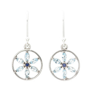 Stella Blue Marquis Sky Blue Topaz Flower of Life Sterling Silver Earrings