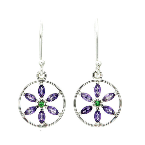 Viola Lee Marquis Amethyst Flower of Life Sterling Silver Earrings