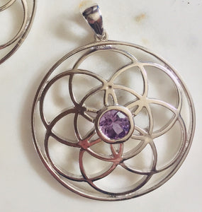 Amethyst Sterling Silver Seed of Life Pendant