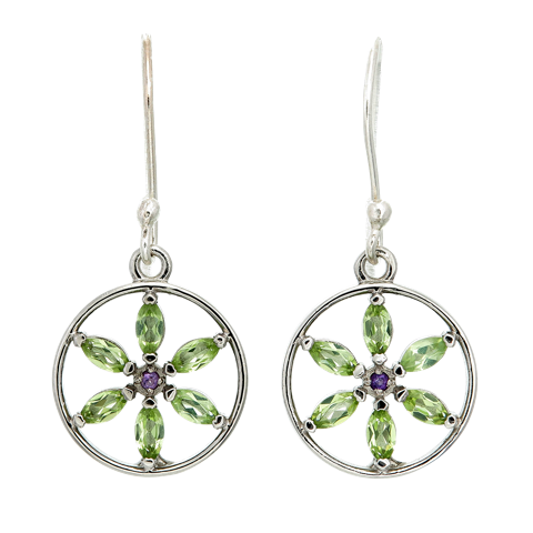 Pearly Baker Marquis Peridot Flower of Life Sterling Silver Earrings