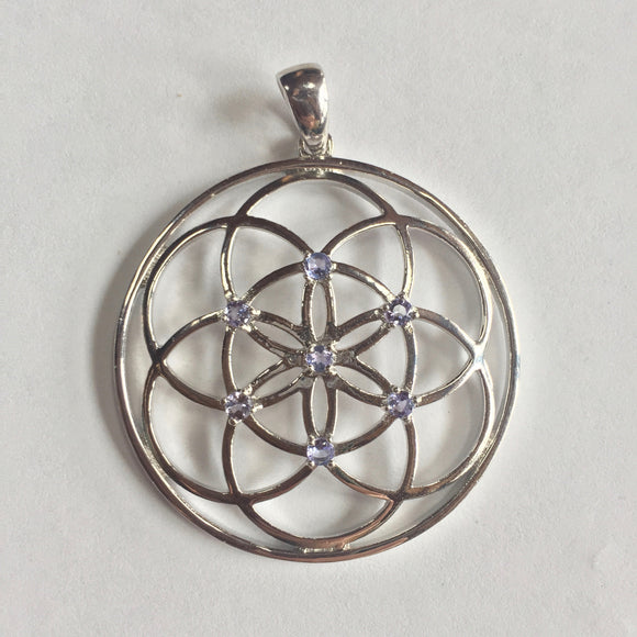 Sterling Silver Seed of Life with Tanzanite