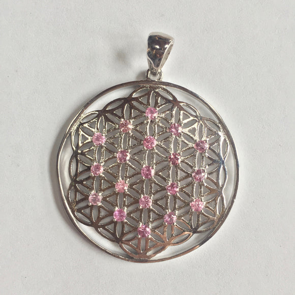Sterling Silver Flower of Life with Pink Sapphires