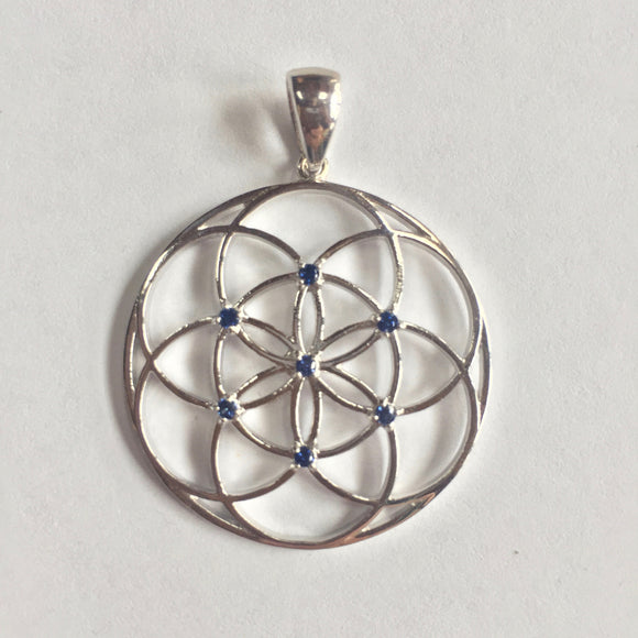Sterling Silver Seed of Life Pendant with Blue Sapphires