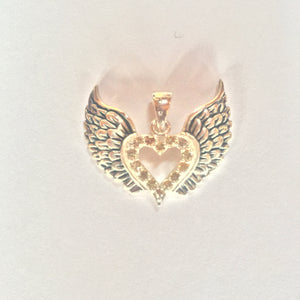 Sterling Silver & Yellow Sapphires Heart with Wings