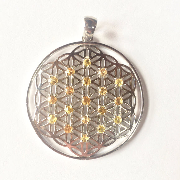 Sterling Silver Flower of Life with 19 Large Yellow Sapphires