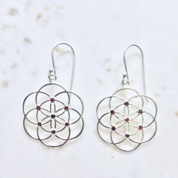 seed of life sterling silver earrings garnet