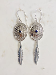 Feathered Flower of Life Sterling Silver Earrings