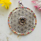 Earth and Sky Rainbow Sapphire Flower of Life Surrounding Smokey Quartz Pendant