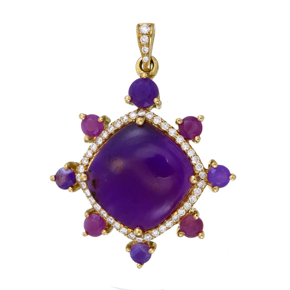 Sugilite and Diamond 18K Gold Pendant