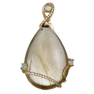 14K Gold Routile with Australian Opal and Diamond Pendant