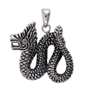 Naga Serpent Pendant Necklace in Sterling Silver