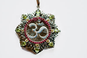 Om Garden Silver Matrix Pendant Necklace with Peridot, Rubies, & Yellow Sapphires