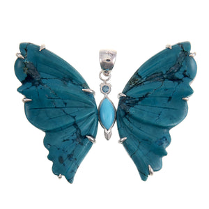 Sterling Silver Turquoise Butterfly Pendant