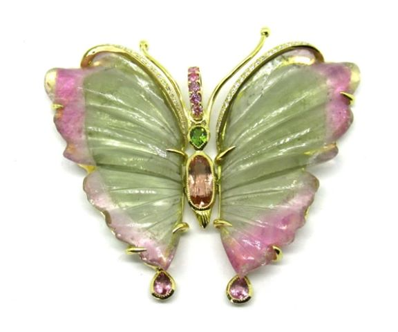 18k Gold Tourmaline Butterfly