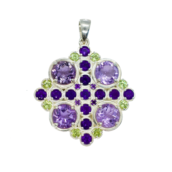 Wahi Purple Amethyst and Green Peridot Mandala Pendant Necklace