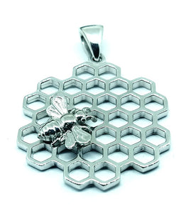 Bee Sweet Silver Honeycomb and Bee Necklace