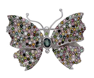 Sterling Silver Tourmaline Butterfly Pin