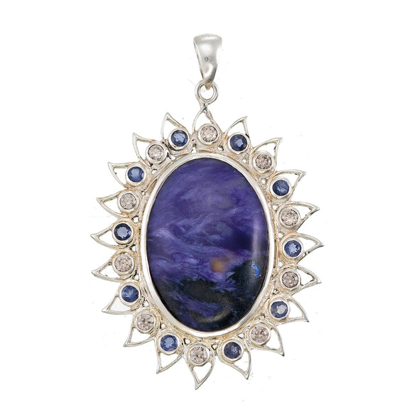 Be Here Now Charoite Lotus Pendant With Iolite & Zircon