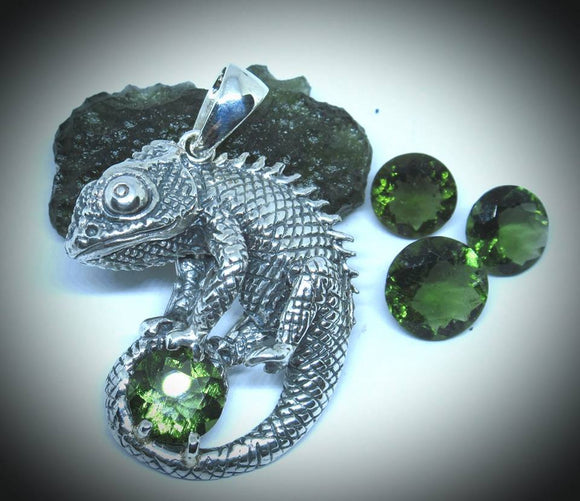 Chameleon with Faceted Moldavite Pendant Necklace
