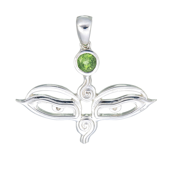 Eyes of the World Peridot Sterling Silver Pendant Plus Seva Donation
