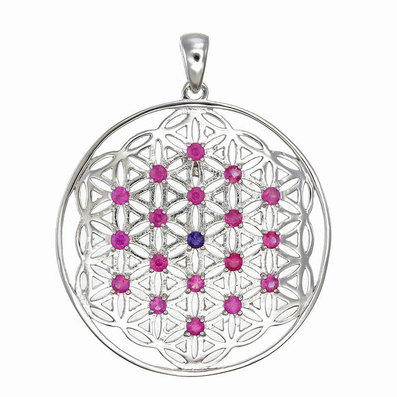 Ruby Flower of Life Silver Pendant Necklace
