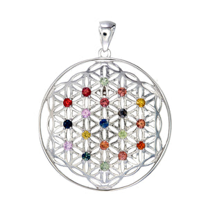 Flower of Life in Sterling Silver with Stones