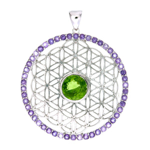 Flower of Life Pendant with Peridot and Amethyst