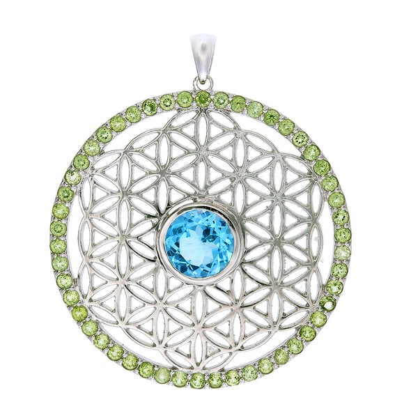 Flower of Life Pendant with Blue Topaz and Peridot