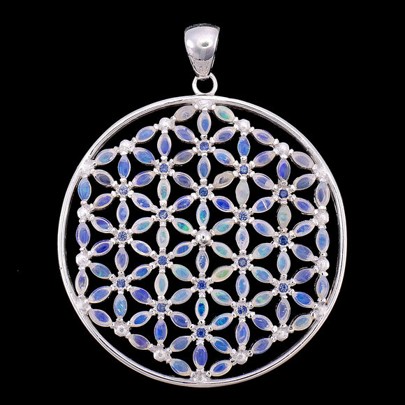 Luminescent Flower of Life with 108 Opals & Blue Sapphires Pendant Necklace