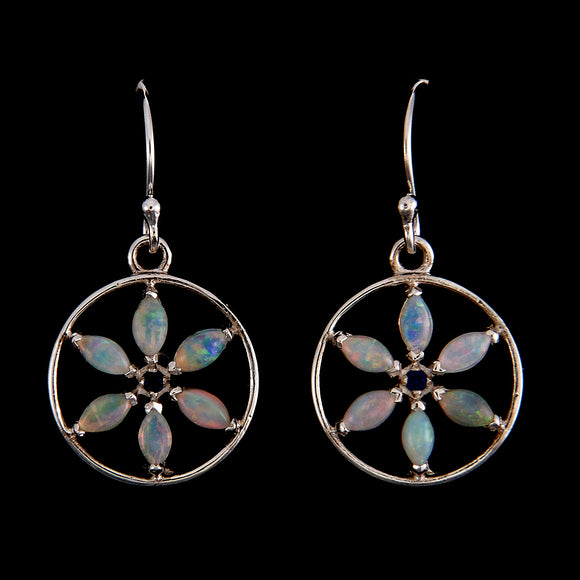 Delilah Marquis Flower of Life Opal Silver Earrings