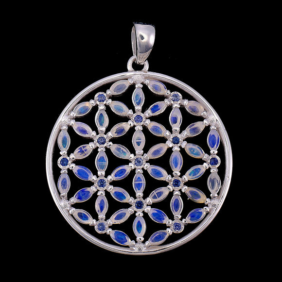 Luminous Opal & Sapphire Flower of Life Pendant Small Version