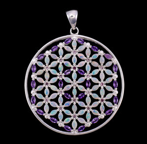 Elegant Flower of Life Opal & Amethyst Mandala Necklace with 108 Gemstones