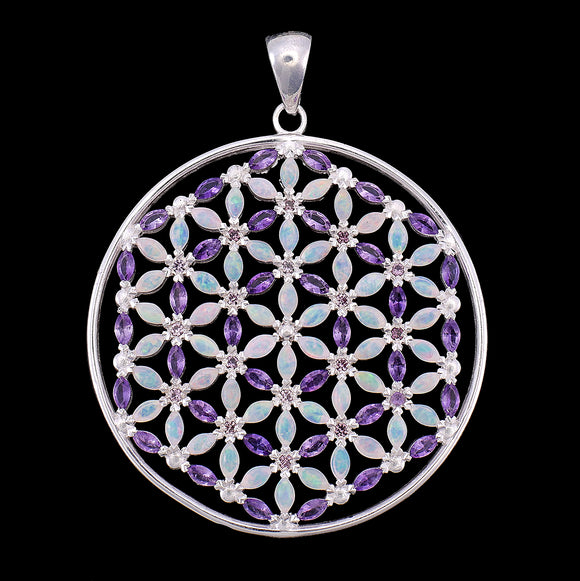 Grace Flower of Life Mandala Opal & Amethyst Pendant Necklace with 108 stones