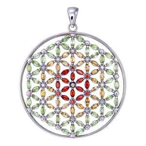 Flower of Life with 108 stones/red,yellow,green